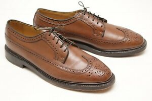 VTG-Stafford-Handcrafted-Mens-Wingtip-Shoes-10-5-M-Brown-Leather-Sole-Longwing