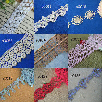 """9 Colors 2""""-3.5'' Wide Rayon Venise Lace Red, White, Blue, Grey,Brown,Pink zhs7"""