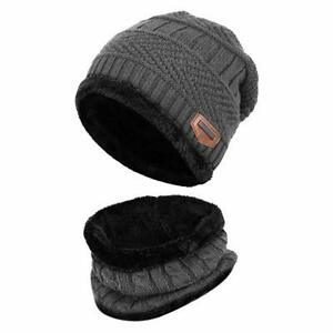 Beanie Winter Hat Scarf Warm Wool Knit Cap /& Neckerchief  Men Women Winter Warm