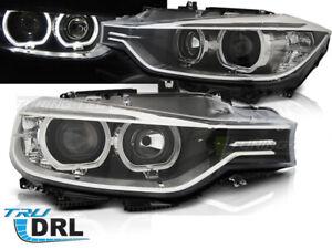 FARI-PROIETTORE-con-LED-DRL-BMW-F30-F31-2011-2015-ANGEL-EYES-nero-LHD-Gocce
