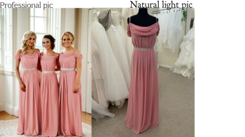 Off Shoulder Chiffon Bridesmaid Dresses Wedding Long Prom Maxi Ballgown Uk