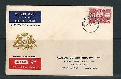 Großbritannien Kolonien Europa Malaya Johore 1955 Sechzigjähriges Jubiläum Ausgabe Auf Nicely Cacheted Fdc Taille Und Sehnen StäRken