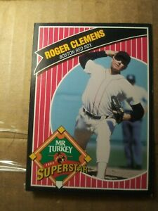 Roger-Clemens-7-1992-Mr-Turkey-Promo-Boston-red-sox-baseball-card-vintage