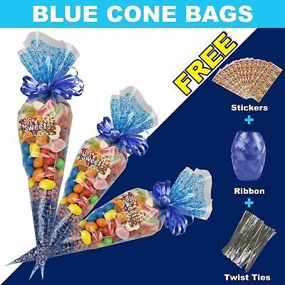 """50 GREEN Cone Cellophane Sweet Party Bags With 4/"""" Silver Twist Ties"""