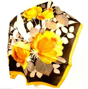 VTG-70-039-s-Italian-Scarf-Floral-Browns-Oranges-Peonies-26-034-Square-Made-in-Italy