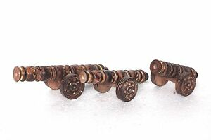 Vintage-Antique-New-Wooden-Carved-Cannon-Toy-Set-of-3-Decorative-Collectible