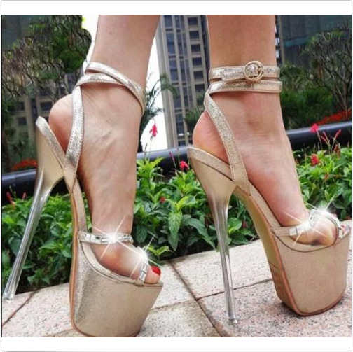 17cm Ladies Platform Peep Toe Sexy Sandals Stletto heel Ankle Strap Buckle shoes