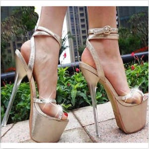 17cm Womens High Heels Ankle Strap Buckle Platform Open Toe Sexy Sandals Shoes Y