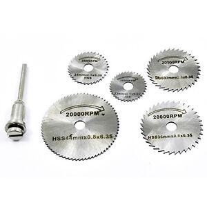 6x-Mini-HSS-sierra-circular-Disco-corte-hojas-con-MANDRIL-PARA