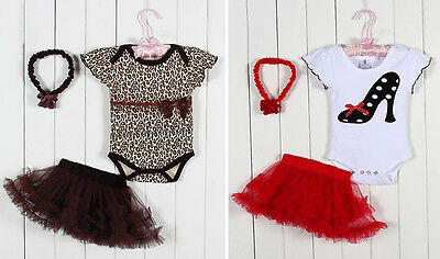 Kids Infant Girl Newborn Baby Headband+Romper+Skirt Bodysuit Outfit Clothing Set