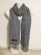 100 Cashmere Scarf Houndstooth Design Black White Made in Scotland Super Soft