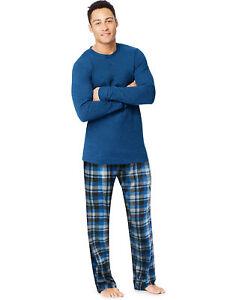 Hanes-X-Temp-Mens-Microfleece-Sleep-wear-Pajama-Set-Long-Sleeve-Pants-w-pockets