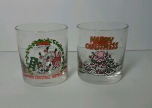 Lot 1980 ZIGGY tom Wilson Christmas Holiday Glass Tumbler Cup Lights tree dog