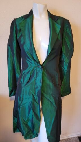 1950s 1960s Womens Green Tinted Pure Silk Vintage