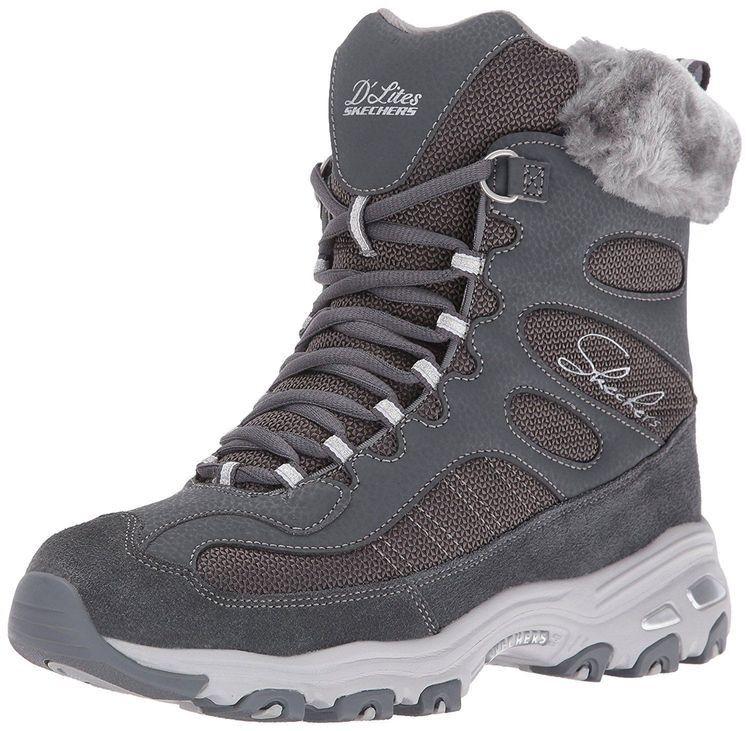 Skechers  D'Lites Chalet Charcoal Faux Fur Collar Winter Boot- Größe 8.5 NWB 120