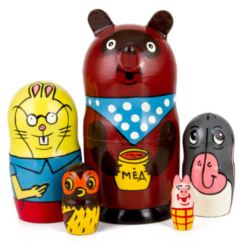 Nesting Dolls Matryoshka Hand Painted Brown Bear Russian Winnie-the-Pooh Piglet