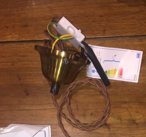 luminaire douille laiton cordon tissus vintage E27