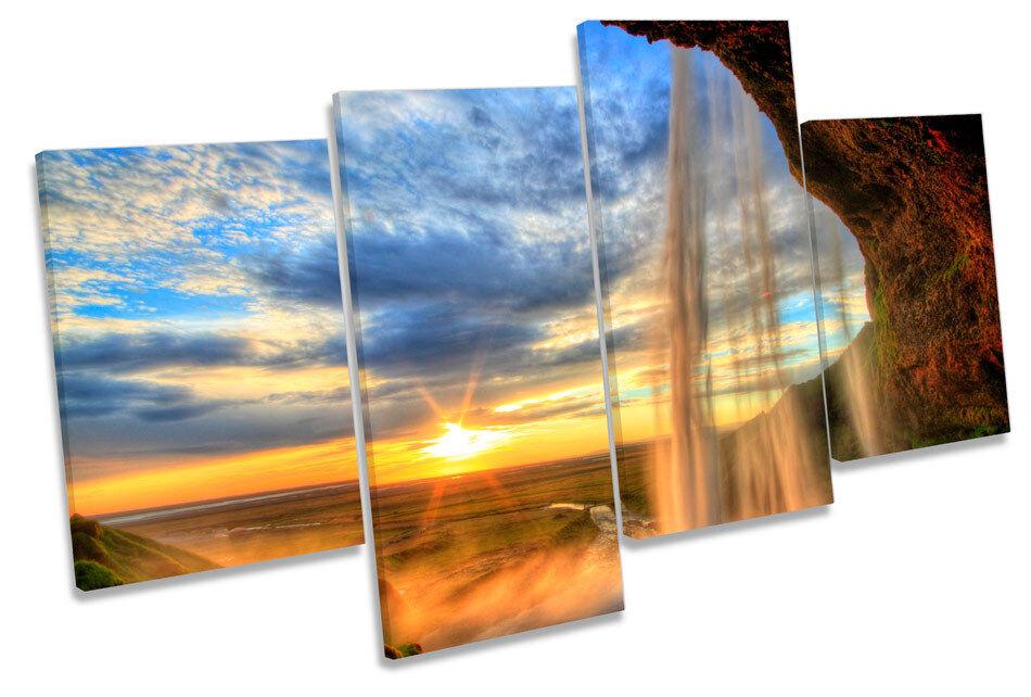 Islandia Sunset Cascada Multi tela parojo arte arte arte enmarcado Panel 2f3ba2