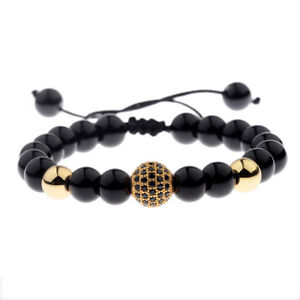 Luxury-Men-039-s-Natural-Stone-Gold-Zircon-Micro-Pave-CZ-Beaded-Bracelets-Jewelry