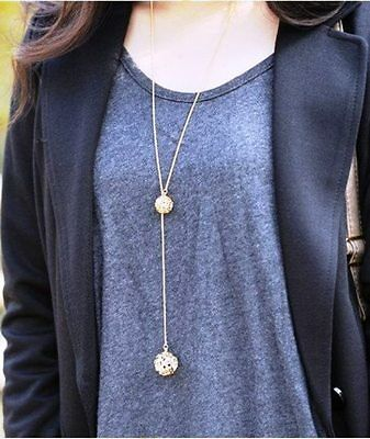 Hot Gold Plated Crystal Hollow Out Two Balls Rhinestone Women Necklace Chain UK