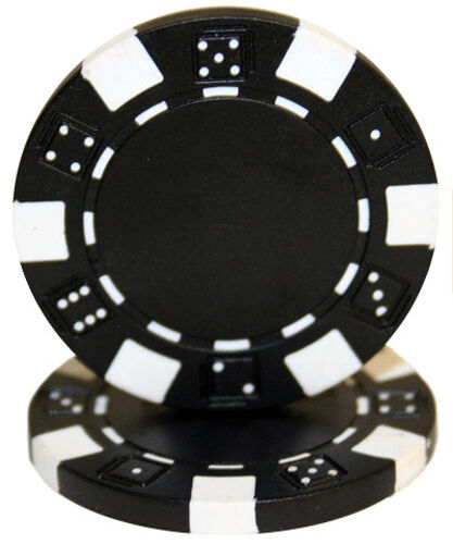 """25 ct Black /""""Striped Dice/"""" Series 11.5 Grams Non-Denominated Blank Poker Chips"""