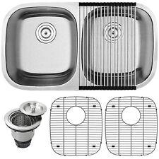 """32-1/2"""" Ticor S205-KIT Stainless Steel 16 Gauge Undermount Double Bowl Kitchen S"""