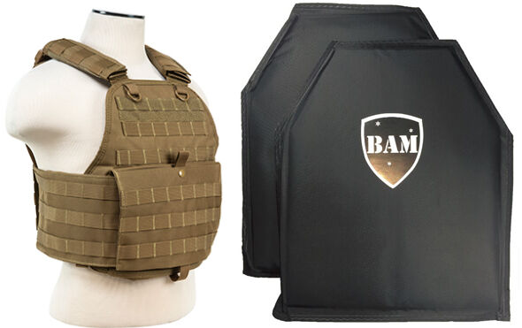 Level IIIA 3A   Body Armor Inserts   Bullet Proof Vest   Plate Carrier -TAN