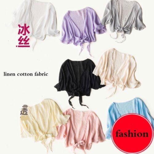 Women Linen Cotton Cropped Cardigan Shrug Shawl Bolero Cape Jacket Coat Kimono