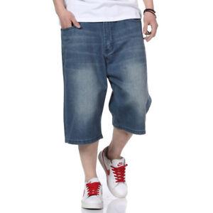Mens-Jeans-Shorts-Denim-Shorts-Relaxed-Fit-Simple-Plain-Plus-Size-30W-46W-13L