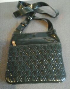 Jaeger-used-green-patent-bag-surface-marks-amp-scratches-shown-strap-64cms