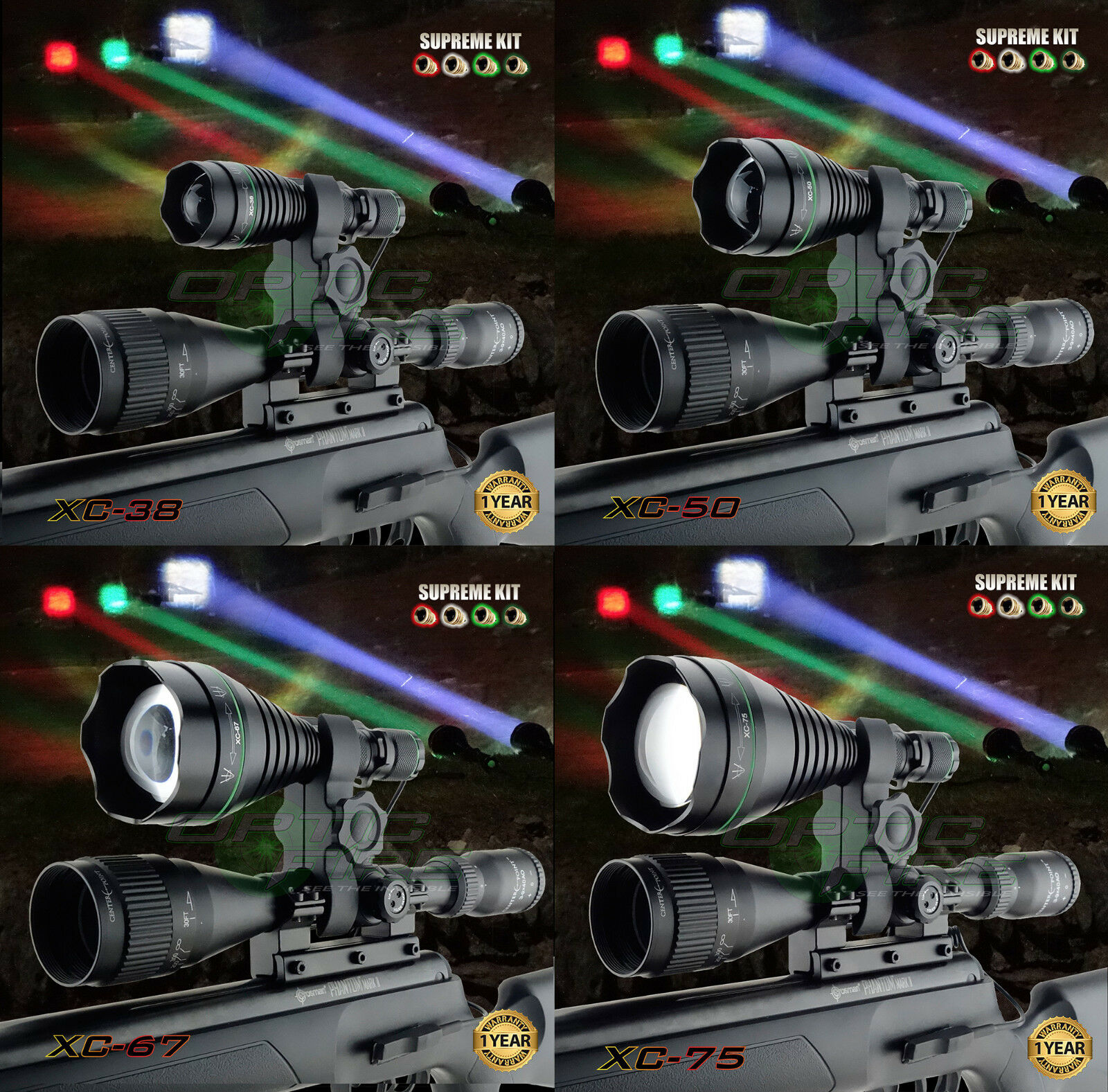 Opticfire® XC 4 LED High power  supreme hunting torch light scope lamp lamping  save 60% discount and fast shipping worldwide