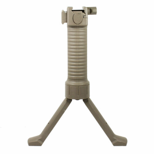 Tactical Retractable Bipod Vertical Foregrip w// Insert Shooting Legs Color Tan