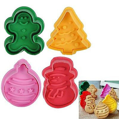 4Pcs Christmas Tree Shape Cake Fondant Pastry Plunger Mold Mould Cookies Cutter