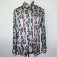 Vintage Original 1970s Disco Shirt Burma Medium & Large Women Print Green