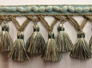 "3.5"" Fancy Hand Made French Tassel Fringe Trim TF-56/39-3 Aqua & Beige"