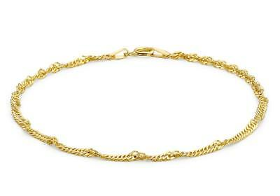 "9ct Yellow Gold 4mm Hollow Flat Diamond-cut Curb Chain Bracelet 18cm//7/"" Gift Box"