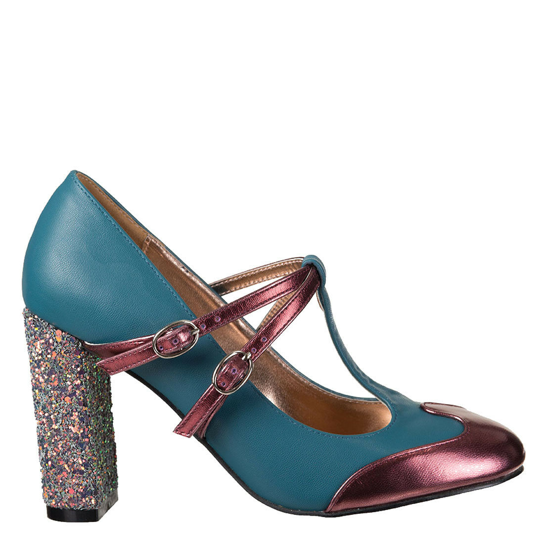 Dancing Days GLITTER MODERN LOVE Vintage Glam GLITTER Days T-Strap PUMPS Teal Rockabilly 68d638