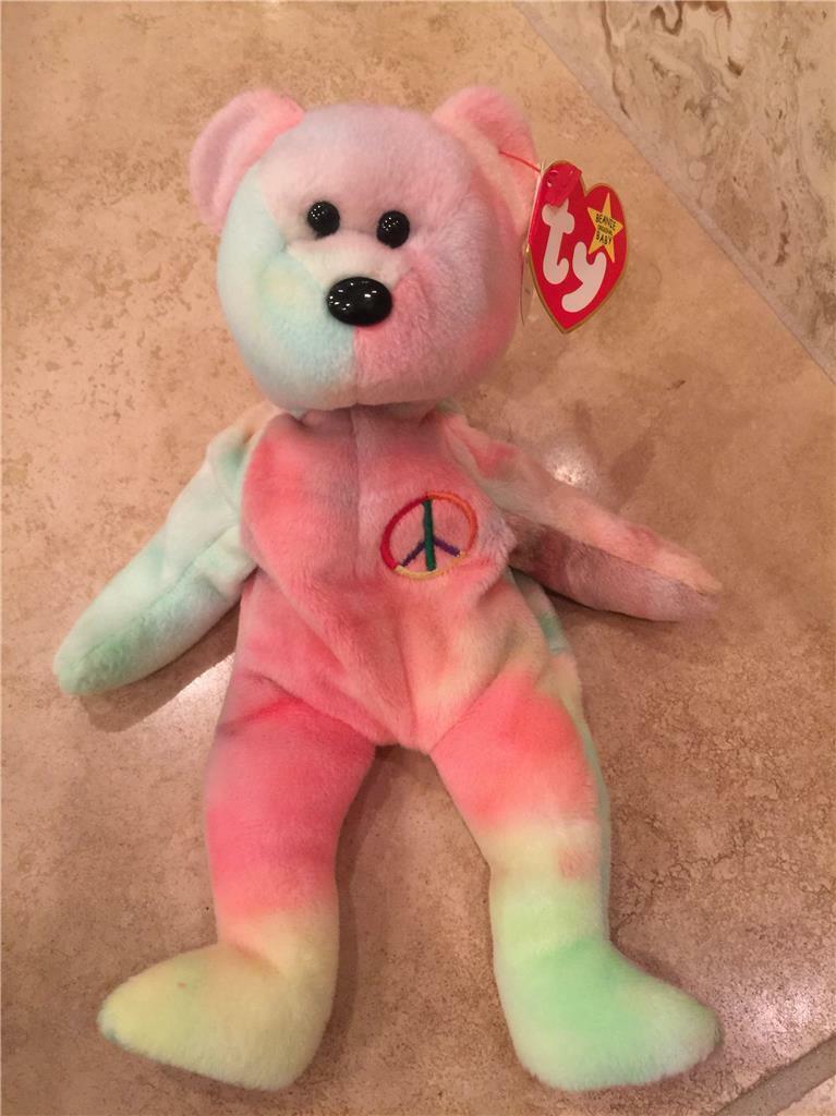 TY Original Beanie Baby Peace Tie Dye 1996 Unique Unique Unique coloring e13156