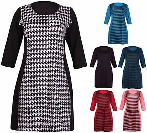 Womens-Plus-Size-Half-Sleeve-Ladies-Stretch-Dogtooth-Tunic-Mini-Dress-Long-Top