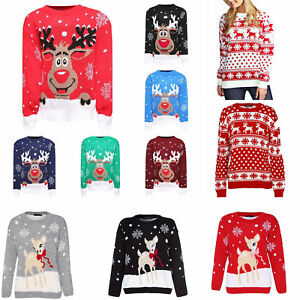 Christmas Jumpers.Details About Kids Boys Girls Xmas Jumper Rudolph Reindeer Snowflakes Bambi Christmas Jumpers