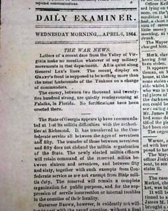 Rare-CAPITAL-OF-THE-CONFEDERACY-Richmond-VA-Virginia-Civil-War-1864-Newspaper