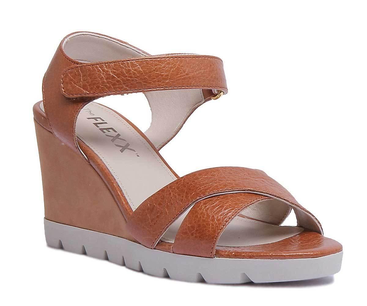 The Flexx Lot Off donna Leather Matt Cognac Strappy Wedge Sandals Dimensione