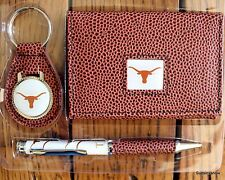 Texas Longhorns Football NCCA Brown Tri-Fold Wallet keyring Pen Gift Set