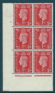 1937 1d Red Dark colours G40 45 Dot perf 5(E/I) block 6 UNMOUNTED MINT/MNH
