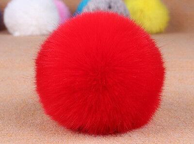 New 1Pc Cute Genuine Fur Ball Handbag Key Chain Cell Phone Car Pendant 8cm DIY