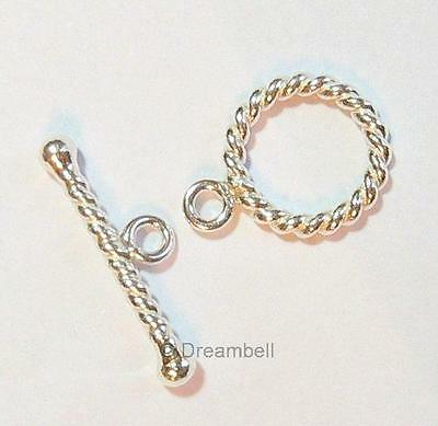 1x Sterling Silver Toggle Twist Rope Toggle Clasp 12mm sc224w