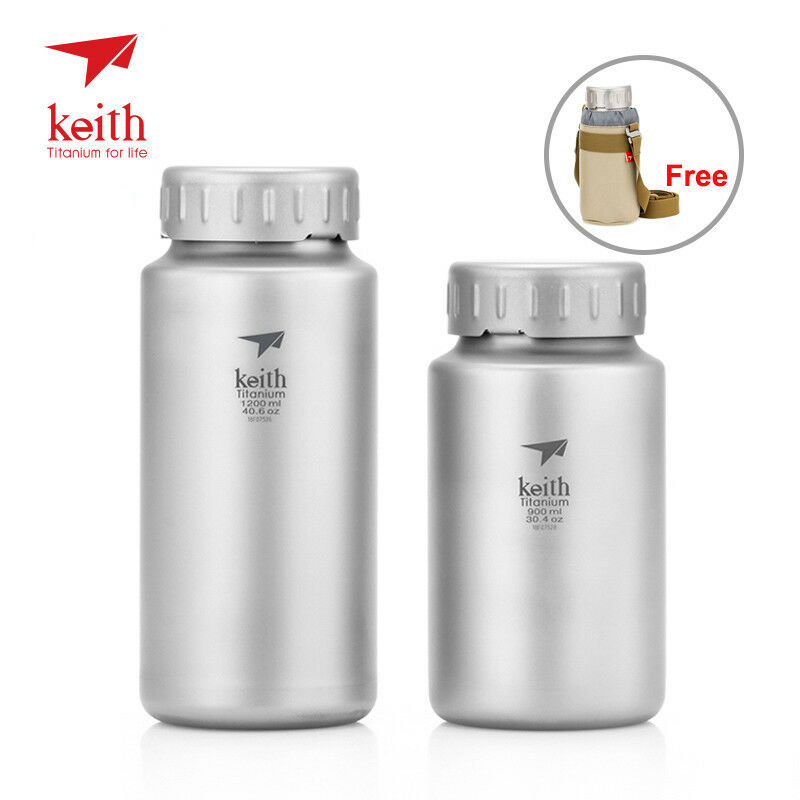 Outdoor Sport Camping Titanium Water Bottle Wide-mouth Flask with bag 0.9L 1.2L