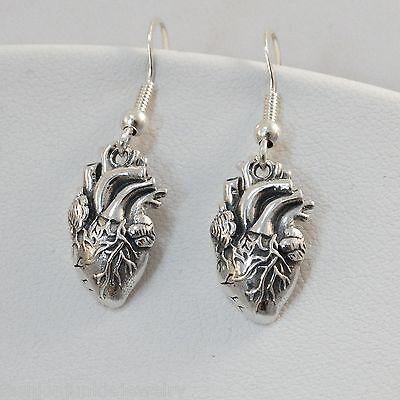 Anatomical Heart Earrings -925 Sterling Silver - Lifelike Hearts Love Doctor NEW