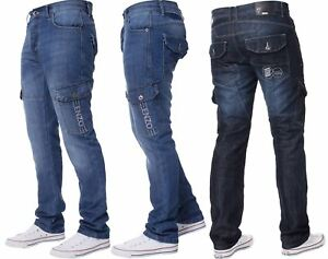 New-Enzo-Mens-Combat-Jeans-Cargo-Denim-Pants-Straight-Leg-Trousers-All-Waist