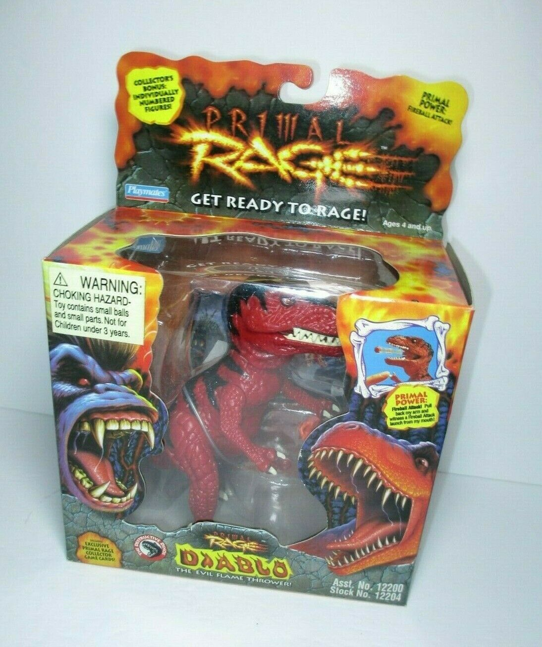 1994 Primal Rage MISB 5  Diablo Evil Flame Thrower Dinosaur Figure Playmates